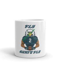 Fly Hurts Fly White glossy mug